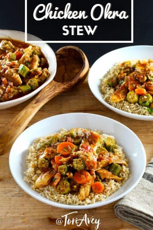 Chicken Okra Stew Pinterest Pin on ToriAvey.com