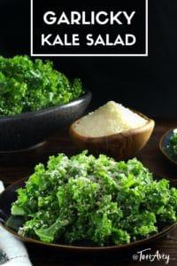 Garlicky Kale Parmesan and Panko Salad Pinterest Pin on ToriAvey.com