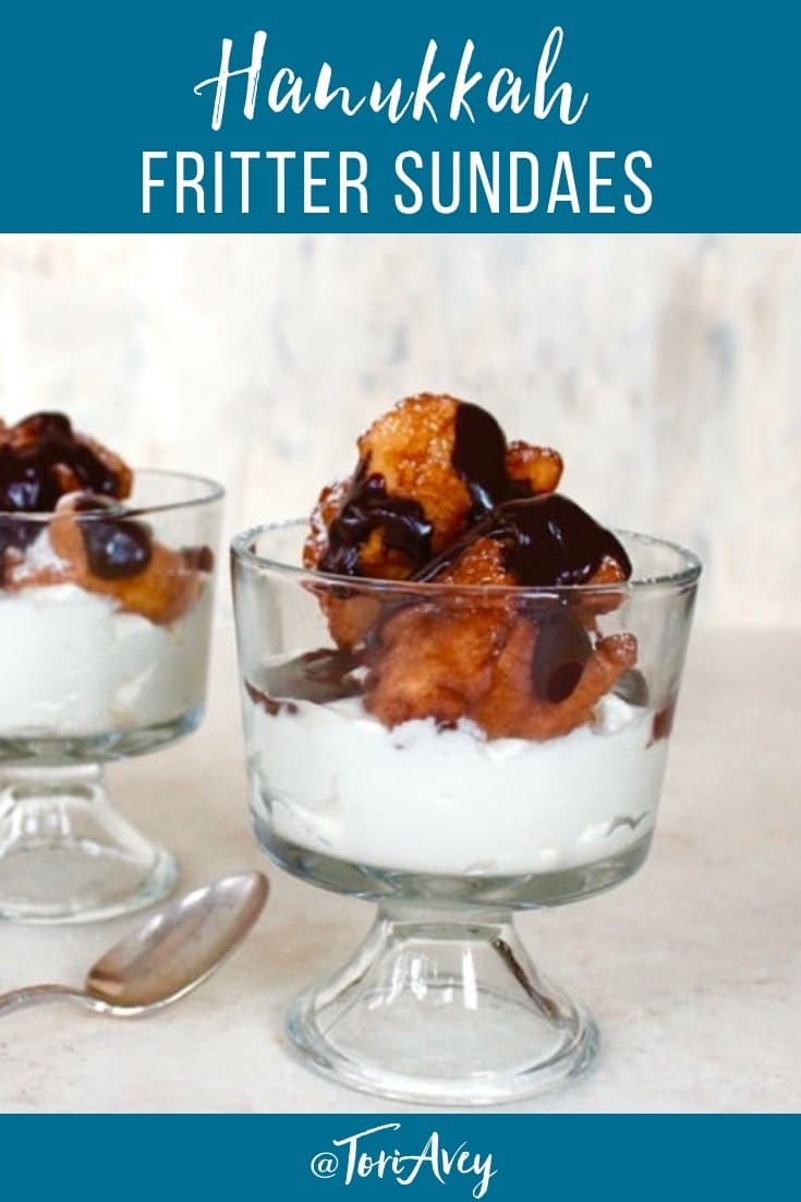 Hanukkah Fritter Sundaes – Celebrate the Holidays with Fresh Whipped Cream, Chocolate Sauce, and Crispy Fritters. This post is in partnership with @cloversonoma #CheerstoTraditions