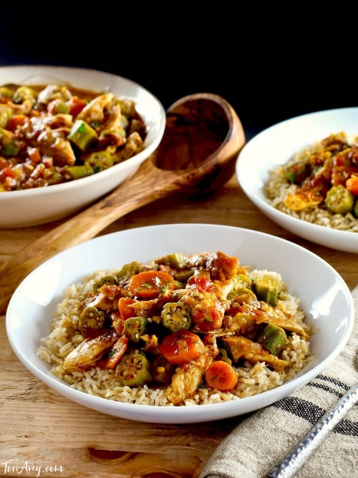 Chicken Okra Stew - Simple and tasty stew made with okra, chicken, carrots and North African spices. Delicious one-pot meal.