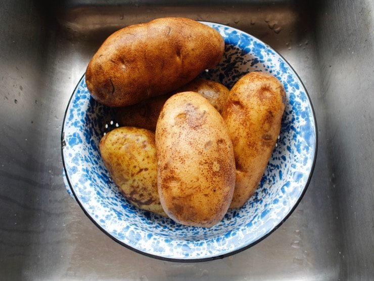 5 large Russet potatoes in blue speckled colander over sink.