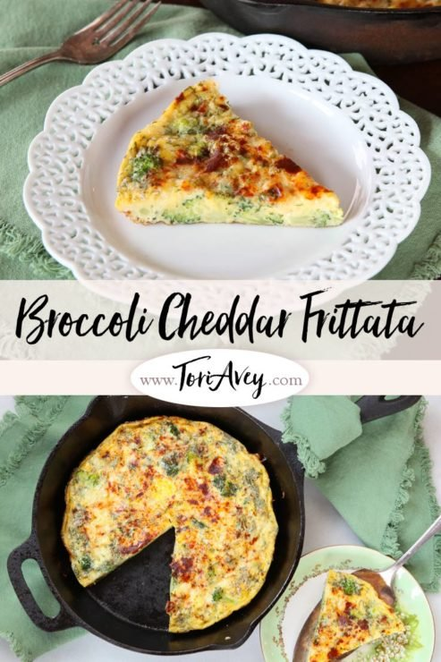Broccoli Cheddar Frittata with Smoked Paprika Pinterest Pin on ToriAvey.com