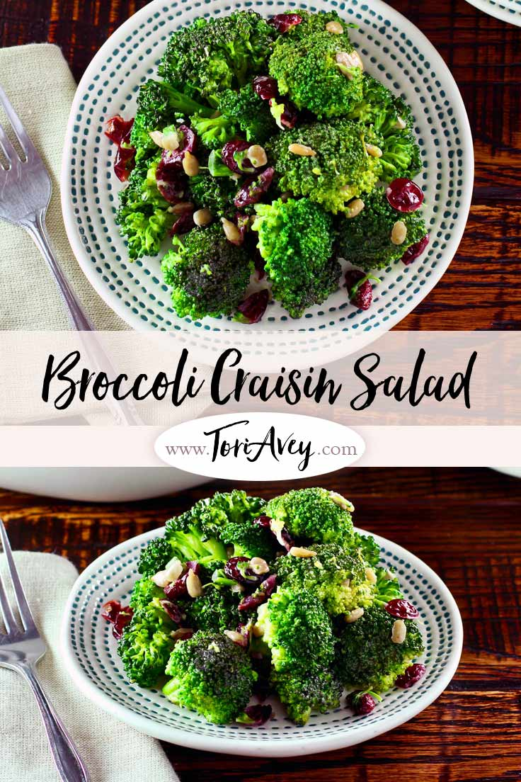 A simple, healthy, delicious make-ahead side dish with broccoli, dried cranberries, sunflower seeds, scallions and dressing | ToriAvey.com #vegetarian #broccoli #sidedish #salad #TorisKitchen