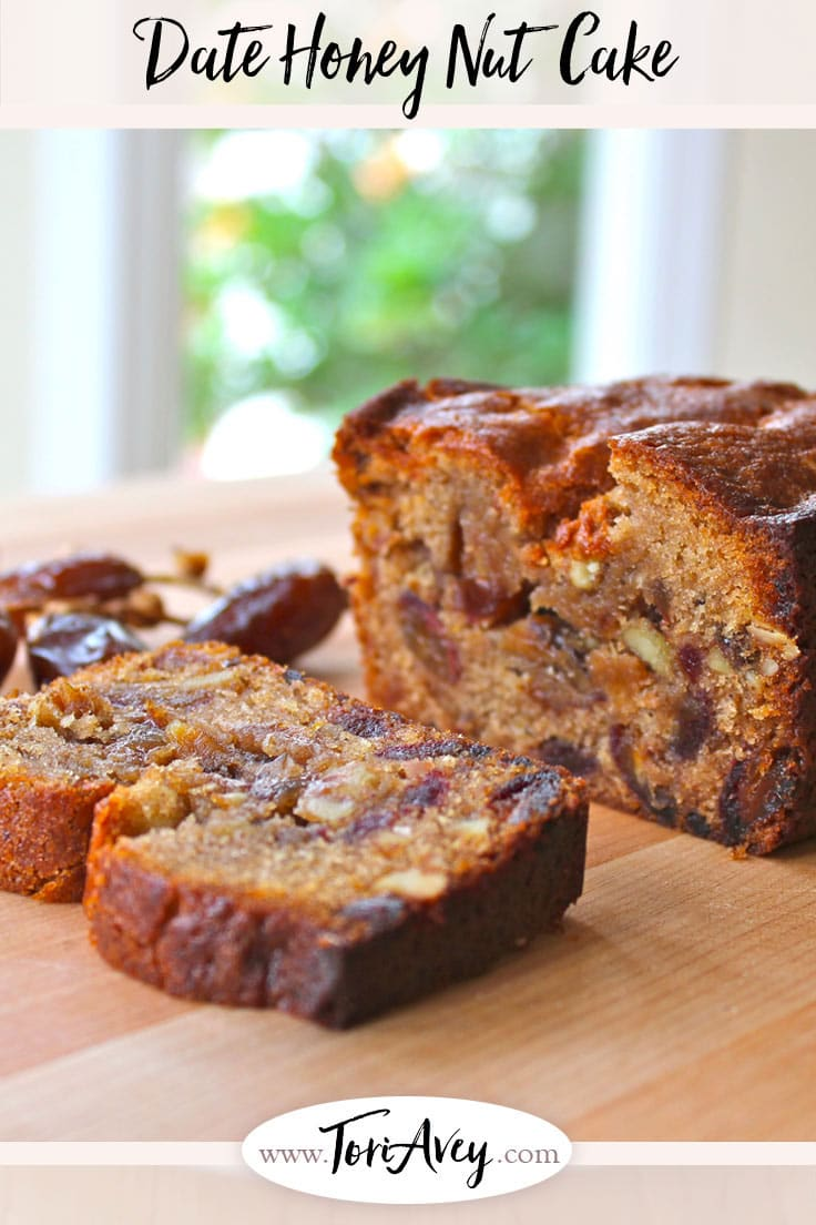 Date Honey Nut Cake - A moist, dairy-free cake bursting with flavor. Kosher, Pareve, Dairy Free, and perfect for Rosh Hashanah or Sukkot. | ToriAvey.com #dairyfree #RoshHashanah #cake #dessert #TorisKitchen
