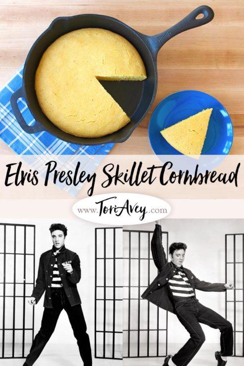 What Elvis Ate: Buttermilk Skillet Cornbread Pinterest Pin on ToriAvey.com