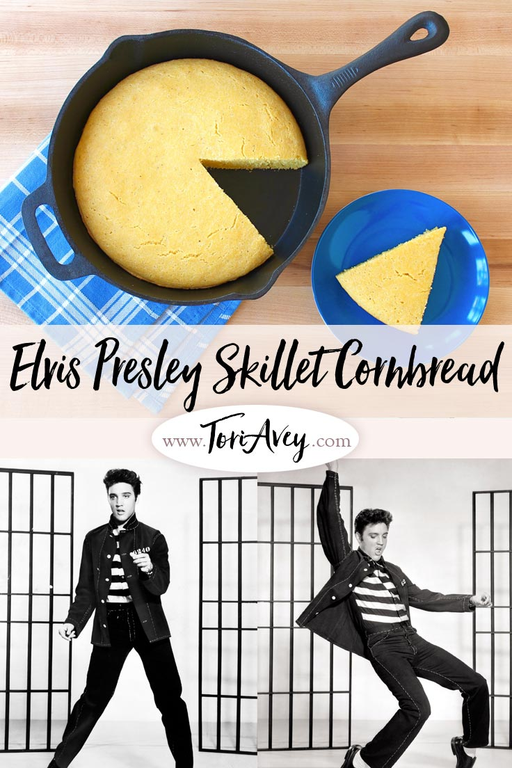 What Elvis Ate: Buttermilk Skillet Cornbread - Learn to make Southern-style skillet cornbread with buttermilk, the way Elvis Presley might have enjoyed it at Graceland in Memphis. | ToriAvey.com #Elvis #cornbread #Southenfood #TorisKitchen