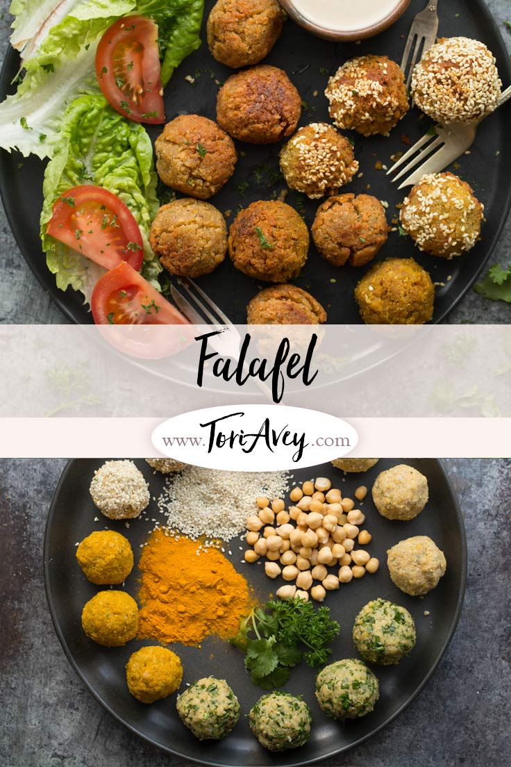 Falafel Recipe - Learn to make chickpea falafel the traditional way with multiple variations in this step-by-step tutorial. | ToriAvey.com #MiddleEasternrecipe #appetizer #vegan #sidedish #chickpeas #TorisKitchen