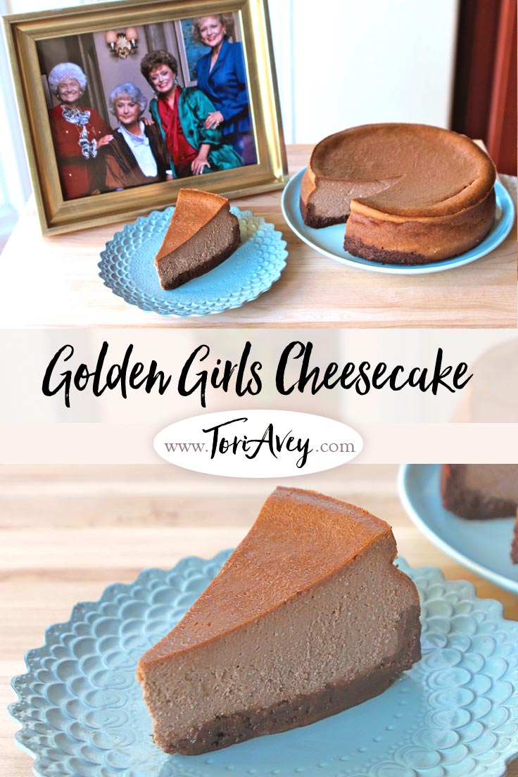 The Golden Girls Cheesecake - Recipe for The Golden Girls Cheesecake. Celebrate Betty White's birthday with Sophia Petrillo's Double Fudge Amaretto Ricotta Cheesecake. | ToriAvey.com #GoldenGirls #cheesecake #Toriskitchen #fudge #ricotta #dessert