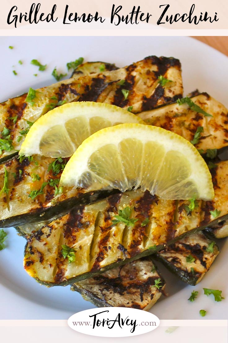 Grilled Lemon Butter Zucchini - Zesty lemon butter and fresh herbs brings out the natural flavor of these lovely grilled courgettes. | ToriAvey.com #zucchini #courgettes #grilled #grilling #vegetarian #sidedish ##TorisKitchen