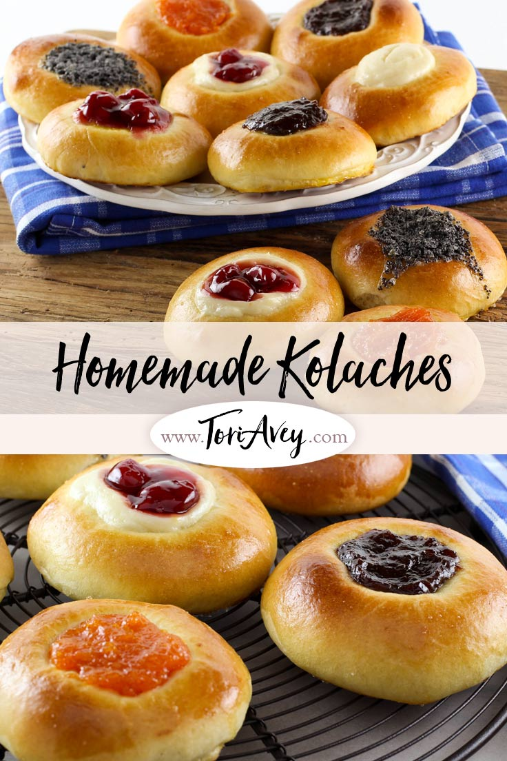 American Cakes: Kolache - Learn the history of Czech kolaches, then try a traditional recipe with fillings and posipka from food historian Gil Marks | ToriAvey.com #dessert #breakfast #cake #kolache #TorisKitchen