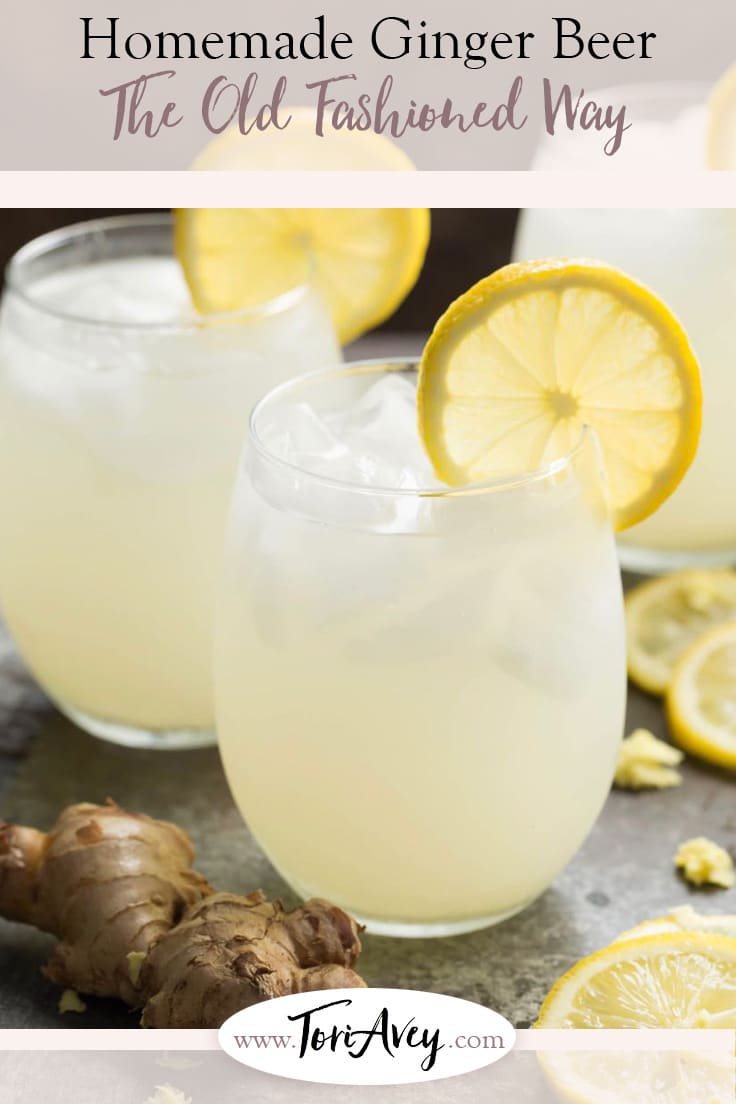 The Old Fashioned Way: Homemade Ginger Beer - Recipe & Video. Learn to make ginger beer (aka ginger ale) the old fashioned way, with fresh grated ginger and the power of active yeast. | ToriAvey.com #ginger #ferment #gingerale #gingerbeer #TorisKitchen