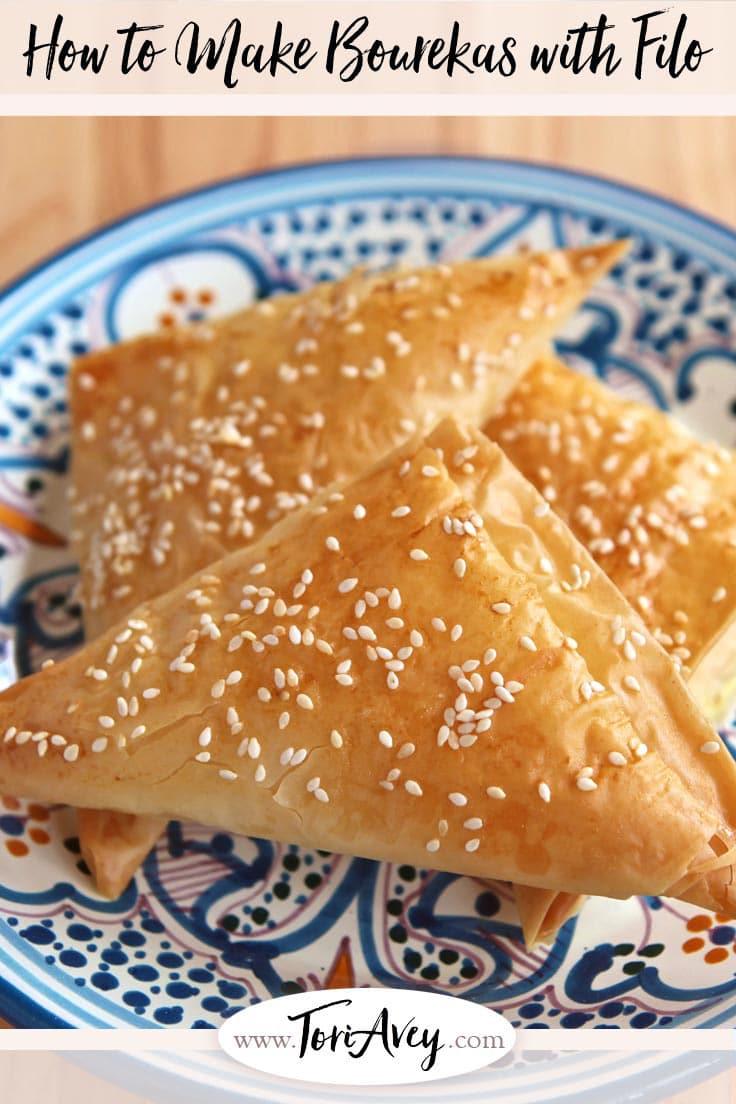Bourekas with Filo Dough - Learn to make bourekas with filo dough and your favorite filling with this step-by-step recipe. | ToriAvey.com #bourekas #filodough #baking #pastry #TorisKitchen