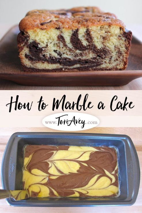 How to Marble a Cake Pinterest Pin on ToriAvey.com