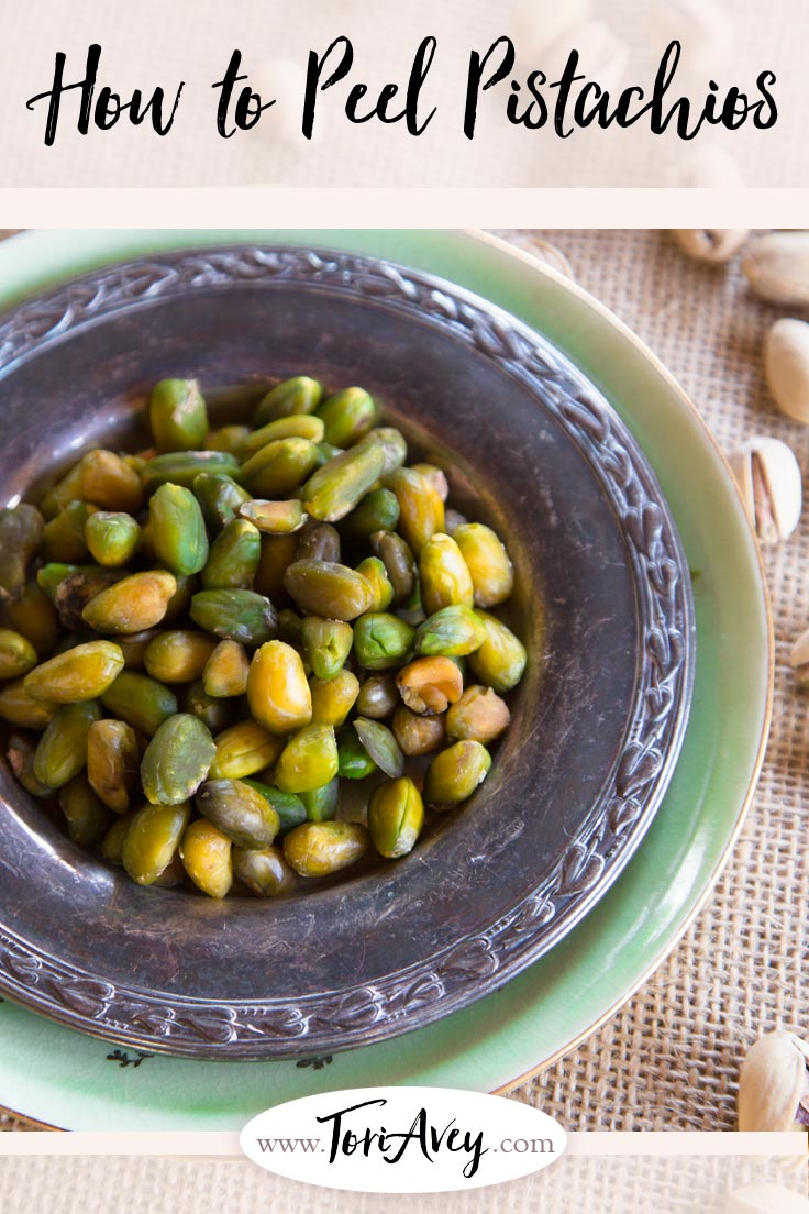 How to Peel Pistachios - Step by step tutorial for peeling fresh pistachios and revealing their distinctive green color. | ToriAvey.com #pistachios #kitchentutorial #TorisKitchen