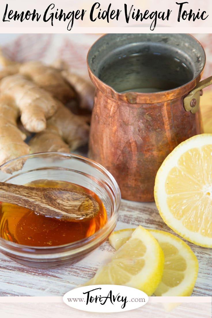 Morning Lemon Ginger Infusion – Start your morning with a healthy, warm beverage of ginger, apple cider vinegar, fresh lemon juice and honey. | ToriAvey.com #ginger #applecidervinegar #morningbeverage #healthybeverage #TorisKitchen