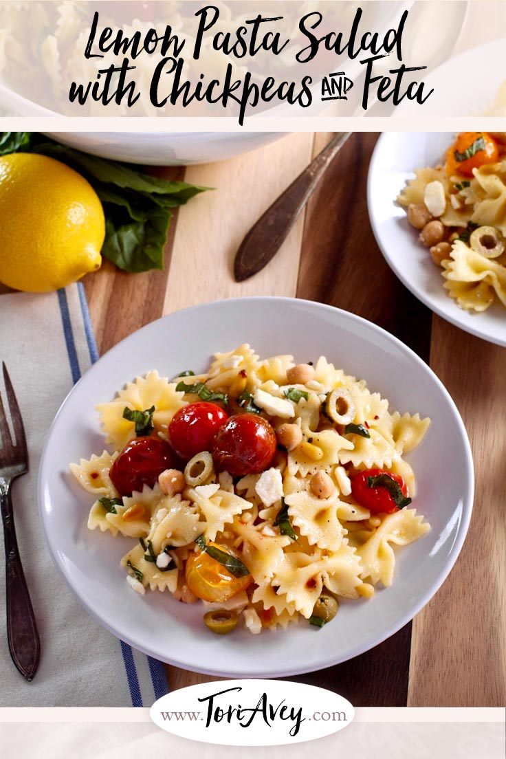 Lemon Pasta Salad with Roasted Tomatoes, Chickpeas & Feta - Recipe for a simple Mediterranean-style pasta salad with lemon, feta, chickpeas, roasted tomatoes, basil, olive oil and red pepper flakes for spice. | ToriAvey.com #Mediterranean #sidedish #pastasalad #TorisKitchen