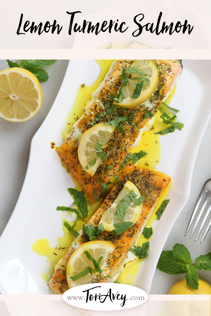 Lemon Turmeric Salmon - A Recipe from Chef Uri Jeremias of Uri Buri Restaurant in Acre, Israel. Butter is the star of the show on this dish. | ToriAvey.com #salmon #turmeric #MiddleEasternrecipe #TorisKitchen