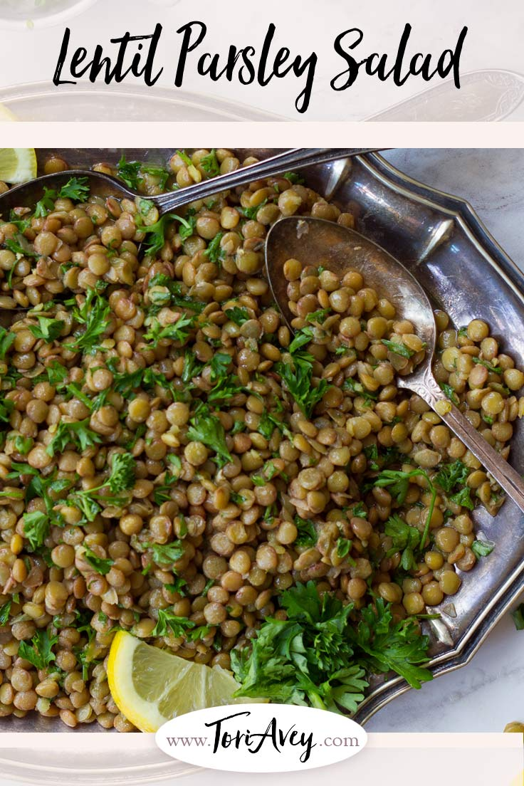 Lemon Lentil Parsley Salad - Simple, healthy and tasty vegan mezze side salad with protein and fiber. | ToriAvey.com #vegan #mezze #sidesalad #sidedish #TorisKitchen