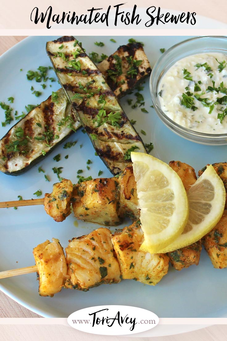 Marinated Fish Skewers - Grilled fish skewers marinated in Sephardic spices and herbs - cumin, paprika, turmeric, garlic, cayenne and cilantro with lemon juice. | ToriAvey.com #Sephardic #fish #grilling #skewers #TorisKitchen
