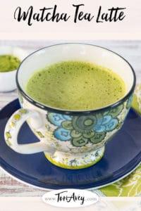 Matcha Green Tea Latte Pinterest Pin on ToriAvey.com
