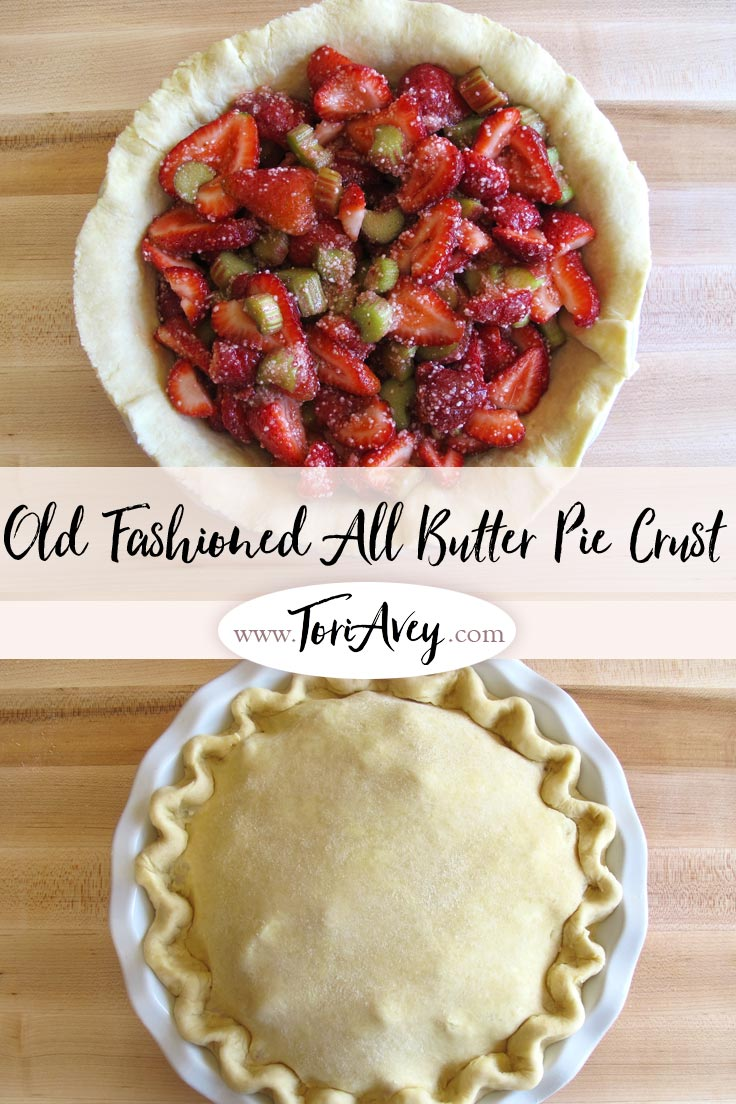 Old Fashioned All Butter Pie Crust - How to make a tender, flaky, flavorful crust from scratch. Instructions for making dough, chilling, rolling, fluting, and scalloping. | ToriAvey.com #pie #piecrust #dessert #baking #TorisKitchen