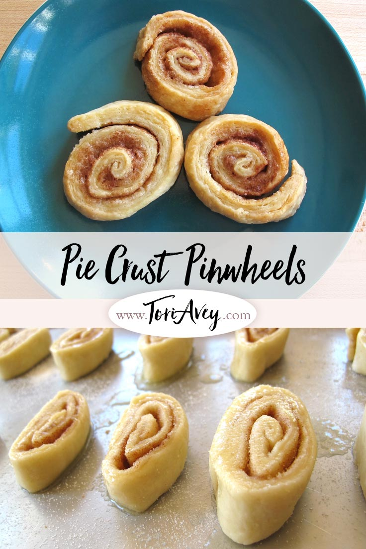 Pie Crust Pinwheels - Use the trimmings from your pie crust to make delicious cinnamon-sugar cookies. Easy and kid-friendly vintage recipe. | ToriAvey.com #piecrust #kidscooking #baking #cookies #TorisKitchen