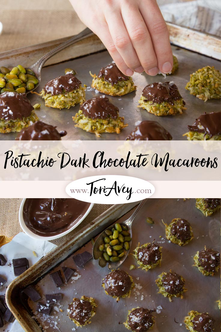 Dark Chocolate Pistachio Macaroons - Delicious Gluten Free Treat for Passover or Anytime of Year. Made with Coconut, Rosewater and Sea Salt. | ToriAvey.com #Passover #coconut #macaroons #dessert #glutenfree #TorisKitchen