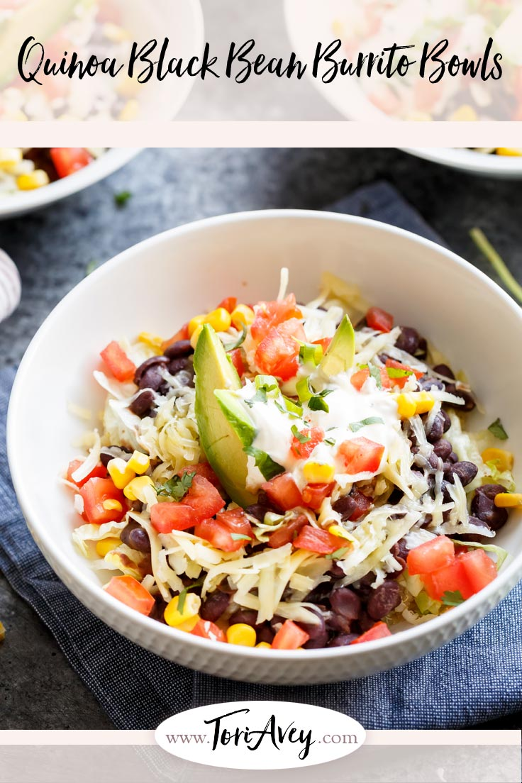 Quinoa Black Bean Burrito Bowls - Cilantro lime quinoa with simmered black beans, lettuce & your choice of toppings. Easy to customize to your taste. | ToriAvey.com #lunch #dinner #glutenfree #vegan #TorisKitchen