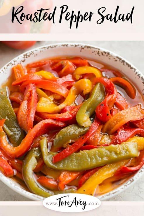 Roasted Pepper Salad Pinterest Pin on ToriAvey.com