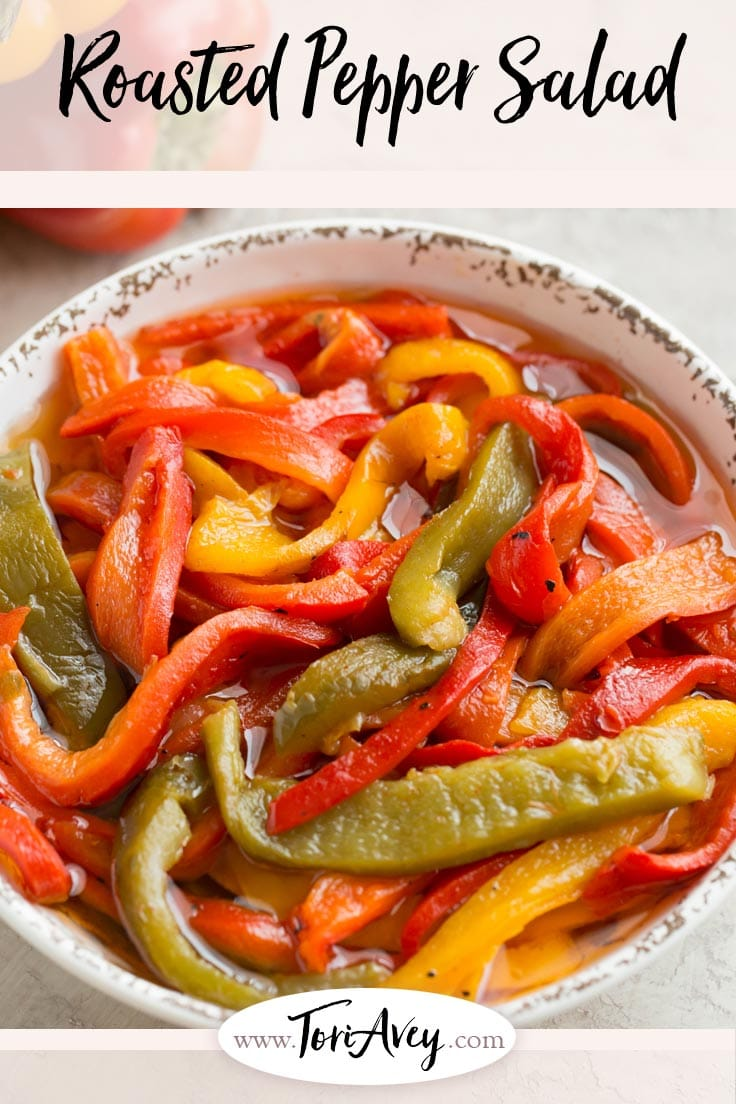 Roasted Pepper Salad Recipe - A colorful vegan salad with bell peppers, olive oil, garlic, and salt. Simple and addicting side dish. | ToriAvey.com #vegan #roastedpeppers #salad #sidedish #appetizer #TorisKitchen