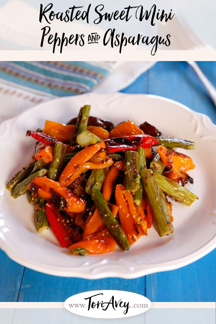 Roasted Sweet Mini Peppers and Asparagus - Roasted asparagus and sweet roasted mini peppers with a delicious simple dressing. Easy, healthy, flavorful and colorful vegan side dish. | ToriAvey.com #vegan #sidedish #salad #sidesalad #TorisKitchen