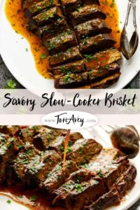 Savory Slow Cooker Brisket Pinterest Pin on ToriAvey.com