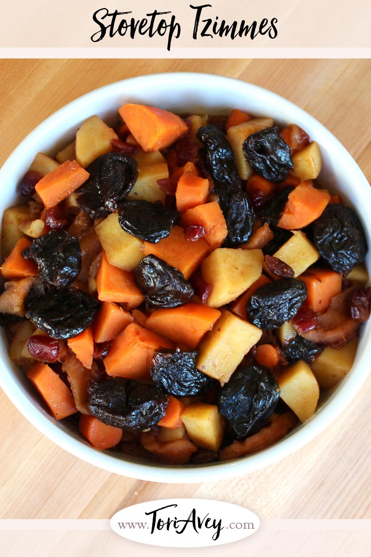 Stovetop Tzimmes - Traditional Jewish tzimmes with yams, sweet potatoes and more. Perfect for Rosh Hashanah, Passover, or any festive occasion. | ToriAvey.com #Passover #tzimmes #rootvegetables #sidedish #TorisKitchen
