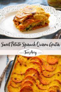 Sweet Potato Spinach Quinoa Gratin Pinterest Pin on ToriAvey.com