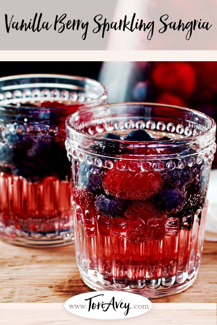 Vanilla Berry Sparkling Sangria Recipe with Rosé Pinterest Pin on ToriAvey.com