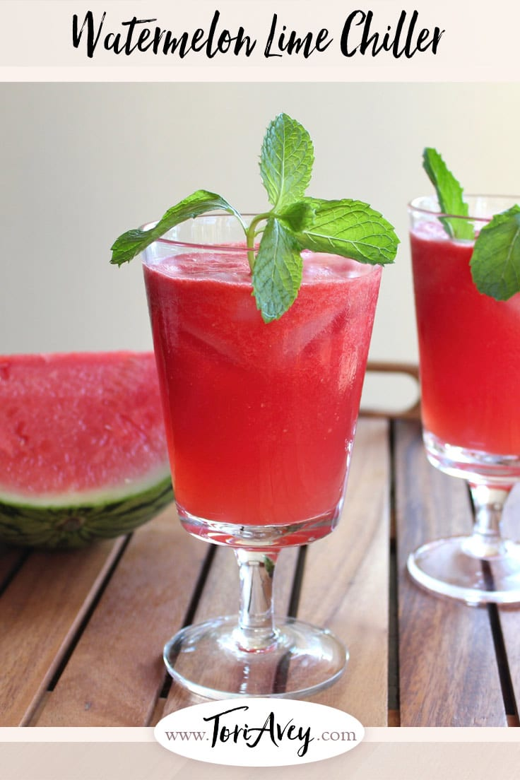 Watermelon Lime Chiller - This cool and refreshing summer drink is made with fresh watermelon, lime juice, sugar and rum. Can be made with alcohol or without. | ToriAvey.com #refreshing #summer #drink #watermelon #rum #cocktail #summerdrink #chiller #lime #cocktailhourr #cocktailparty #poolparty