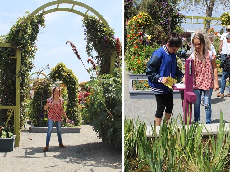 Two young girls having fun at the Ranunculus Fields in Carlsbad, California.