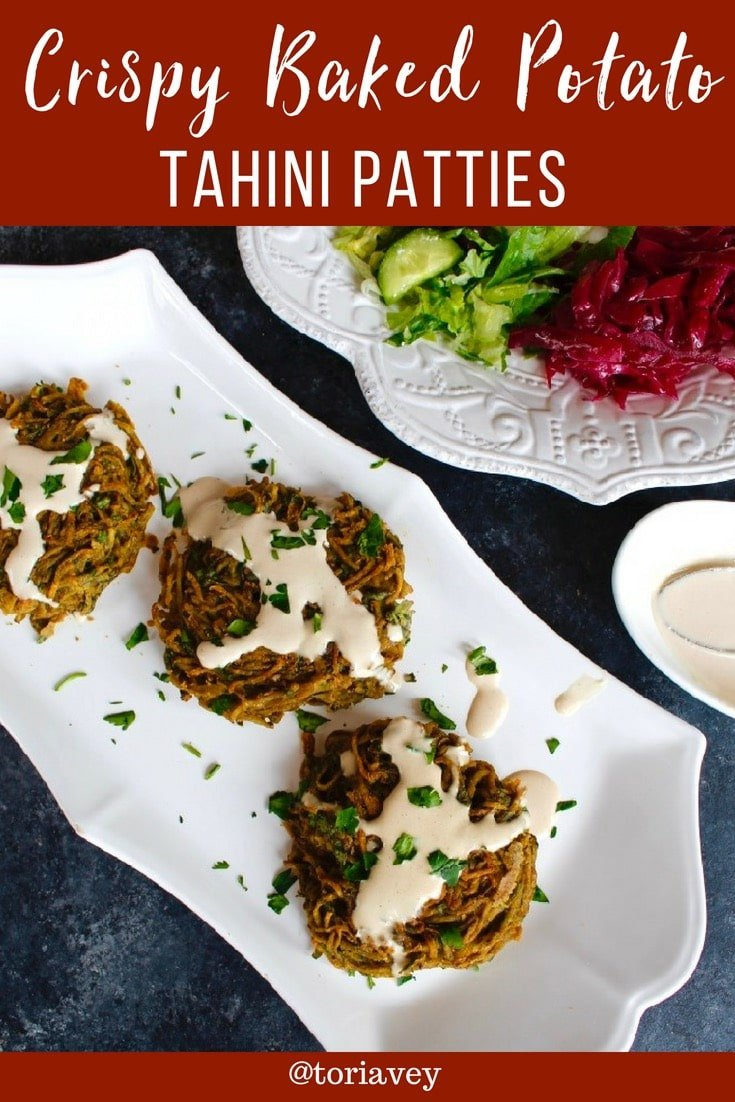 Kartoffelpuffer - Crispy Baked Potato Tahini Pancakes. Easy and tasty vegan gluten free recipe from Kanaan Restaurant in Berlin. | ToriAvey.com #vegan #glutenfree #potatopancakes #healthy #tahini #bakednotfried #easyrecipe #vegetarian #cleaneating #kosher #vegan #lightenup #vegan #hearthealthy #latkes #potatoes #fusioncuisine #germanfood #peace