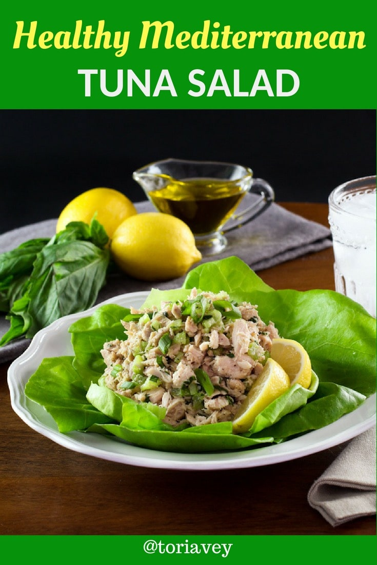 Healthy Mediterranean Tuna Salad - Learn to make herby, delicious, flavorful and low cholesterol tuna salad. No mayonnaise. Kosher, Mediterranean diet, low carb, gluten free. | ToriAvey.com #tuna #Mediterranean #unprocessed #glutenfree #lowcarb #healthy #herbs #tuna #fish #kosher #seafood #salad #sidesalad #sandwich #salad #oliveoil #lemon