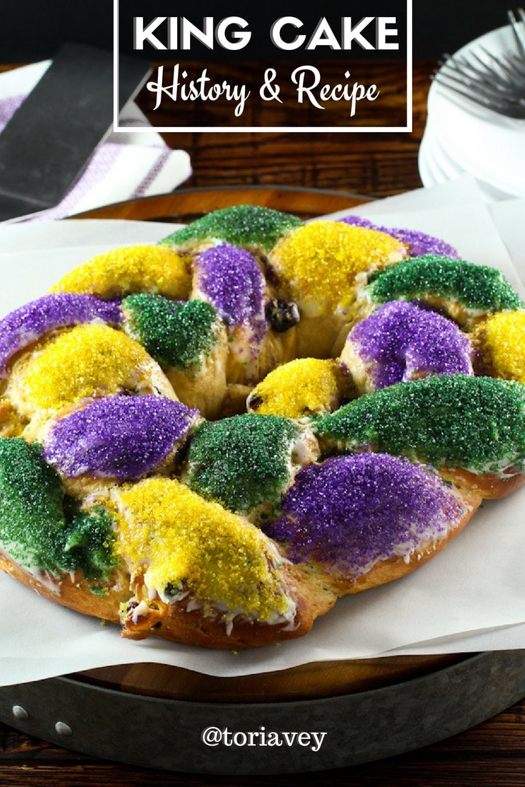 King Cake - Recipe, history and tutorial for making this colorful braided Mardi Gras cake from food historian Gil Marks. | ToriAvey.com #cake #MardiGras #NewOrleans #NOLA #fattuesday #foodhistory #frenchquarter #cakehistory #history #cakerecipe #onetimeinnola #bakingchallenge #historicalrecipe #partycake