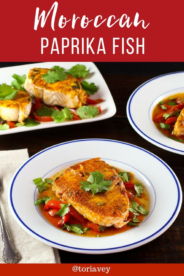 Moroccan Paprika Fish  – Healthy, tasty, and authentic recipe with paprika, olive oil, garlic, cilantro, and peppers. Easy parve entree. | ToriAvey.com #fish #moroccanrecipe #moroccanfood #paprika #smokedpaprika #healthyrecipe #Passoverrecipe #simplerecipe #easyrecipe #kosher #turmeric #cilantro # peppers #garlic #pareve