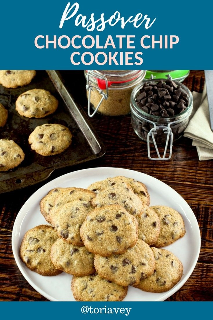 Chocolate Chip Cookies for Passover - These rich and decadent matzo chocolate chip cookies are so good, you won't miss the chametz! Kosher for Passover | ToriAvey.com #passover #cookies #matzo #pesach #matza #matzah #honey #mostpopular #butter#kosher #kosherforpassover #baking #jewishholiday #chocolate #chocolatechip