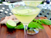 Cucumber Ginger Martini - The Shell-tini Pinterest pin on ToriAvey.com