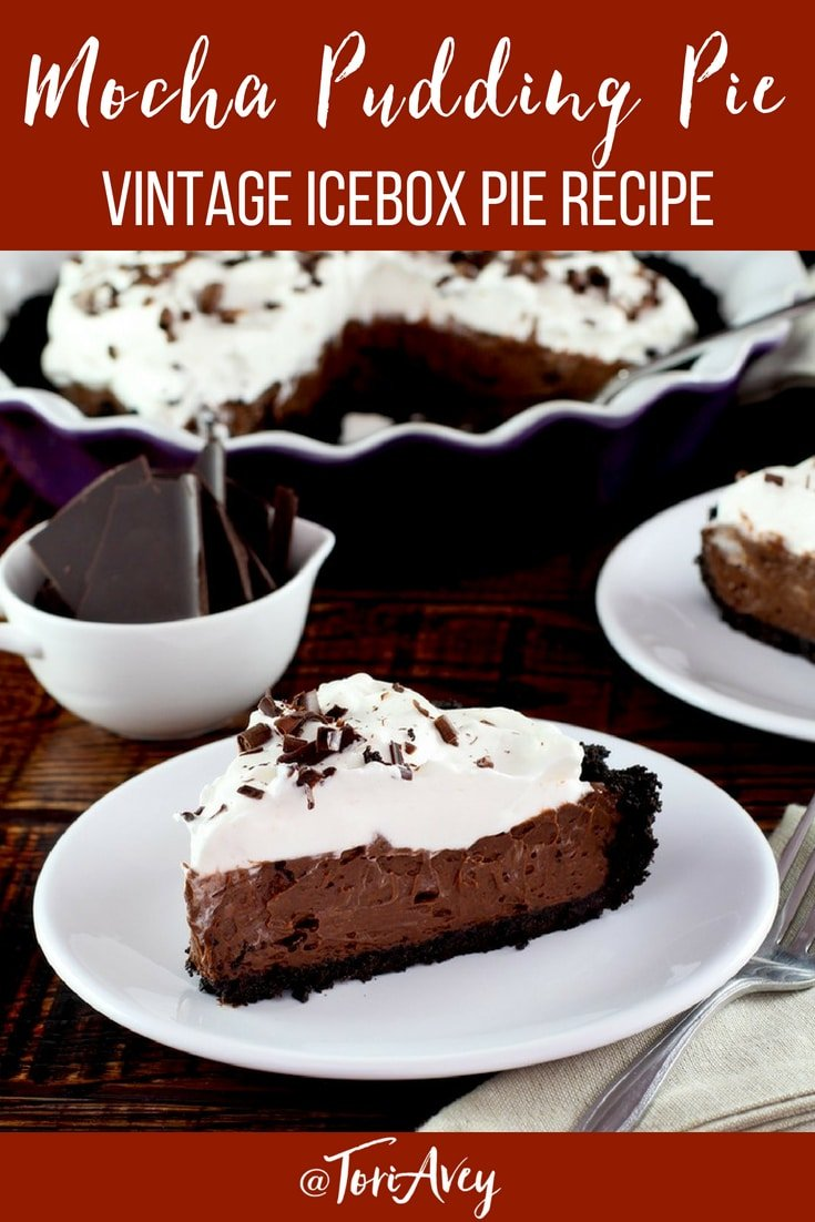 Mocha Pudding Pie – vintage recipe for an easy no-bake dessert with coffee ice cream, chocolate pudding and a chocolate cookie crust #dessert #mocha #nobake #vintage #coffee #icebox #pie #summerdessert #iceboxpie #TorisKitchen