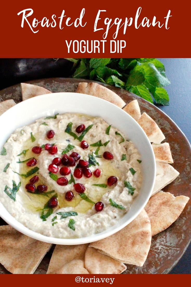 Roasted Eggplant Yogurt Dip - Moutabal. Flame roasted eggplant with Greek yogurt or labneh, roasted garlic, and tahini. A creamy, delectable dip. #eggplant #babaghanoush #moutabal #greekyogurt #tahini #garlic #pomegranates #mint #TorisKitchen