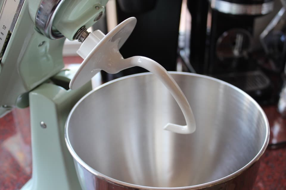 Stand mixer with dough hook.