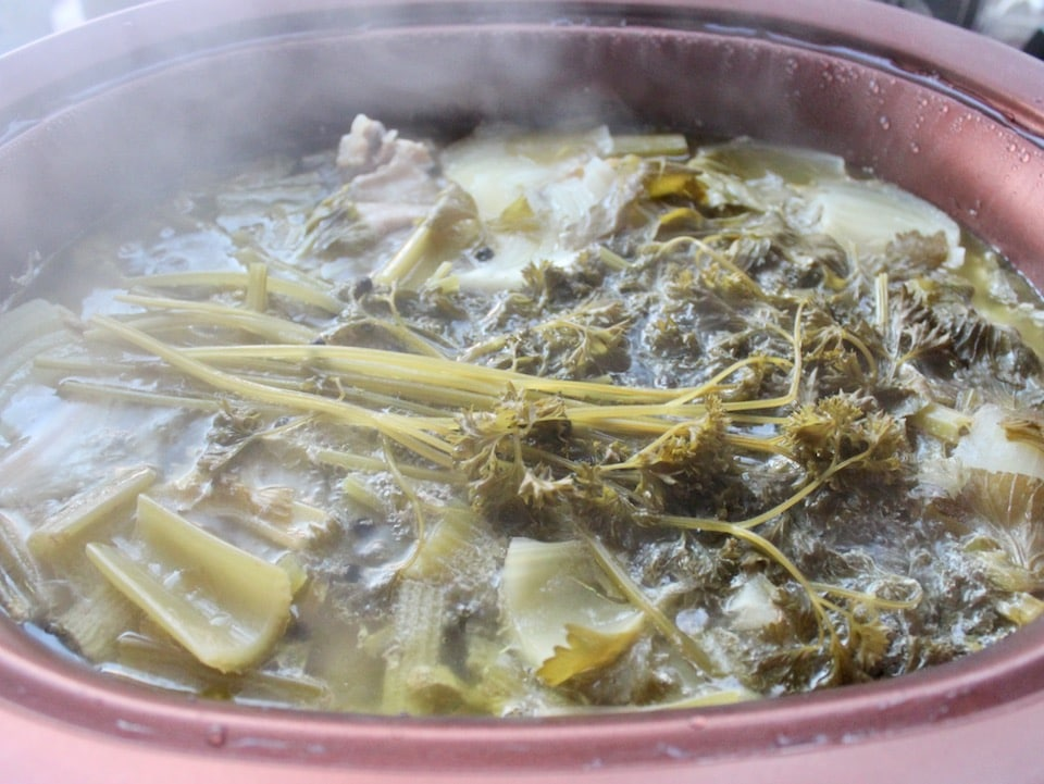 Slow cooker chicken stock after simmering 5 hours on high.