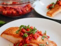 Salmon with Strawberries. Balsamic & Basil - Pinterest Pin on ToriAvey.com