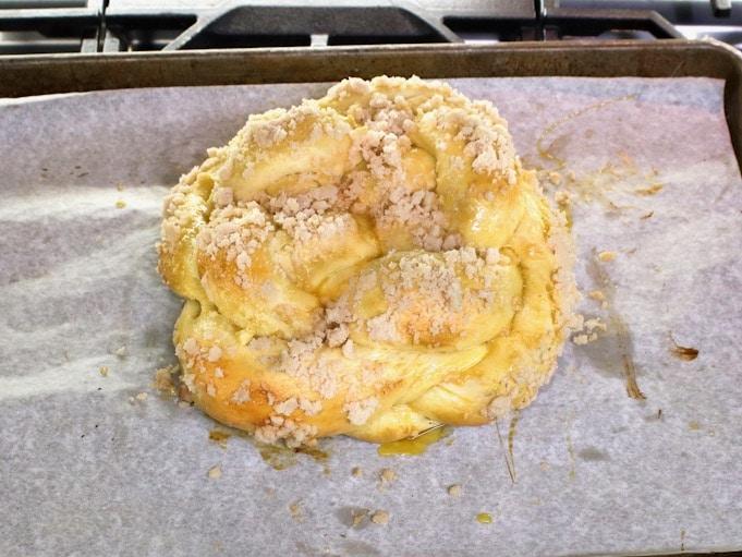 Overhead shot of half baked challah dough.